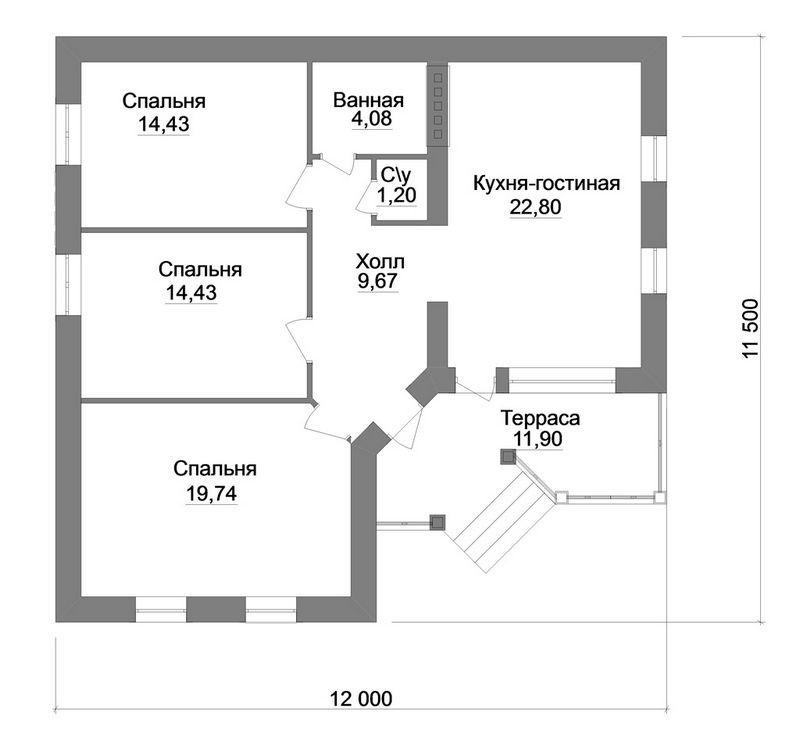 Байкал A-046. Проект 1-этажного коттеджа на 3 спальни с террасой
