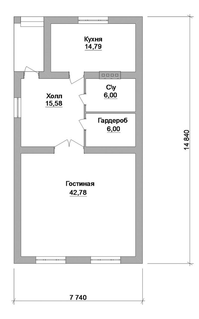 Баланс A-033. Проект гостевого дома с гостиной и кухней-столовой