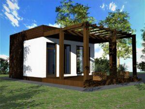 Балу G-069. Проект бани с комнатой отдыха и террасой