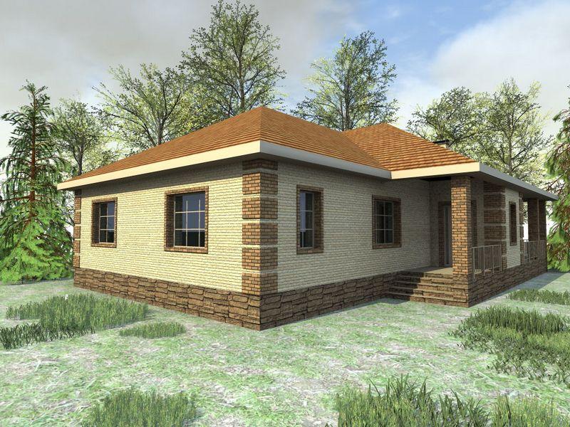 Барбадос C-149. Проект одноэтажного дома на 3 спальни, с угловой террасой