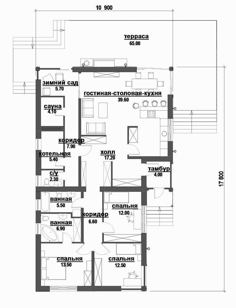 Барбарис D-095 с видеообзором. Проект современного одноэтажного дома на 3 спальни, с террасой и зимним садом