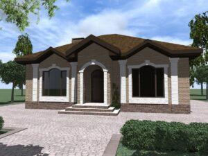 Бархат A-076. Проект одноэтажного дома с двумя спальнями и гостиной