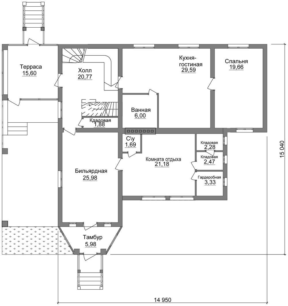 Бартоломеу F-072. Проект дома с мансардой, цокольным этажом, террасой и спортзалом