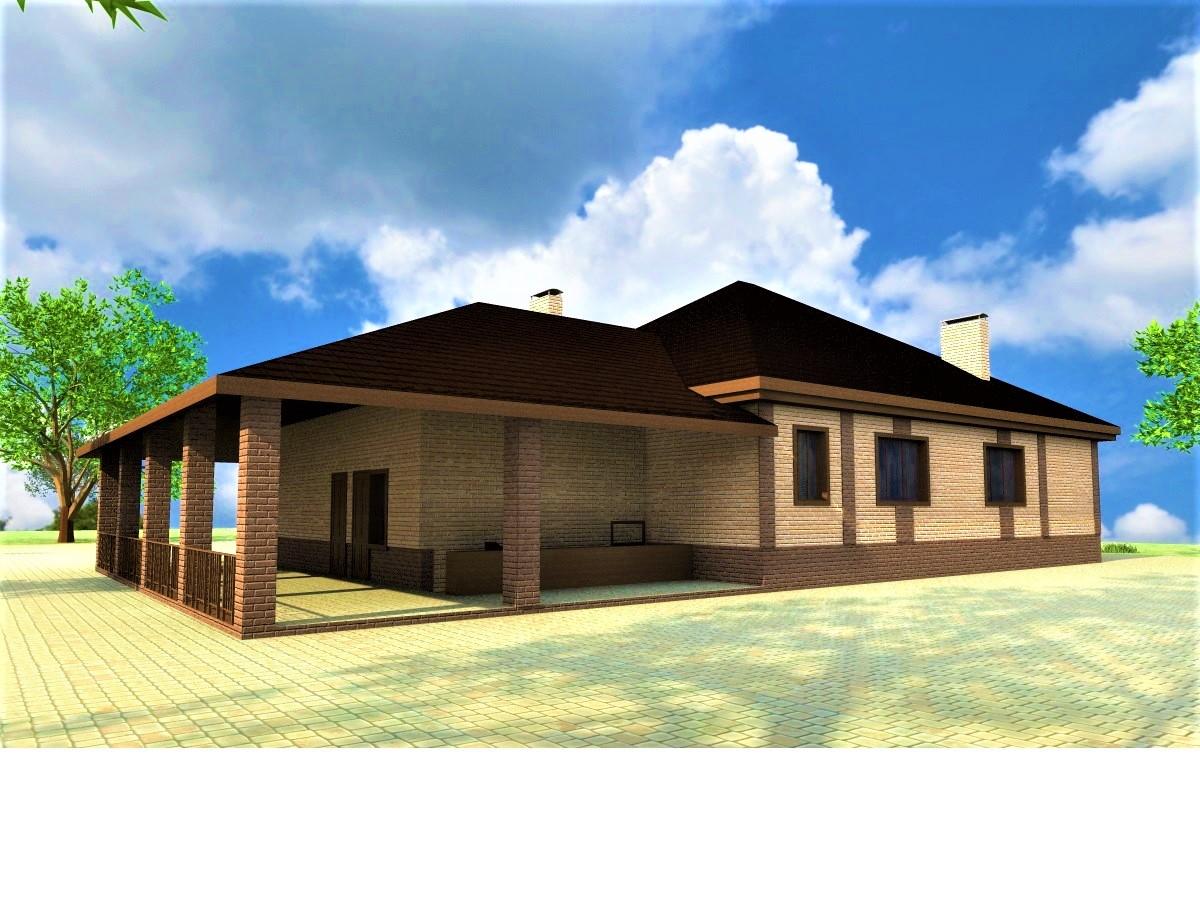 Барвиха E-047. Проект одноэтажного дома с тремя спальнями, гаражом и верандой