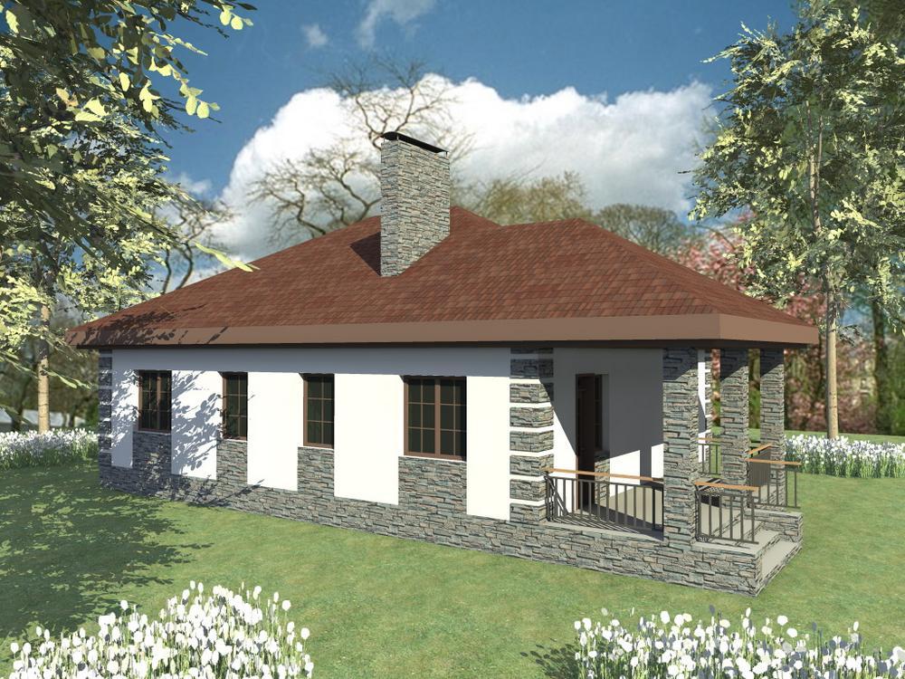 Баса B-217. Проект красивого одноэтажного дома на 2 спальни, с террасой