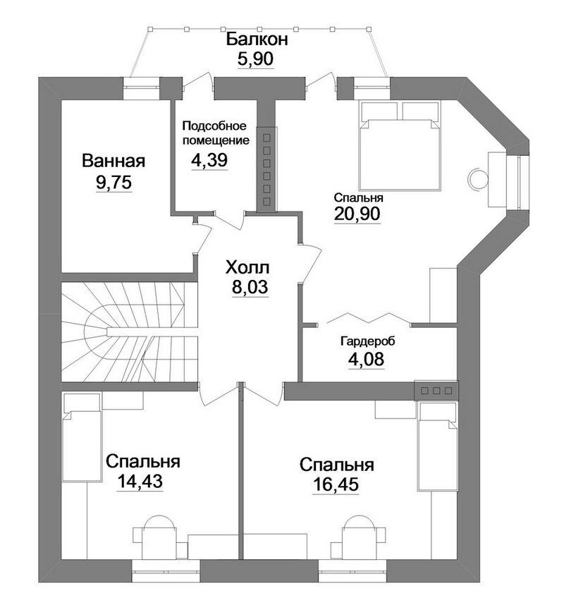 Баскак C-171. Проект мансардного коттеджа на 4 спальни, с террасой и тренажерным залом