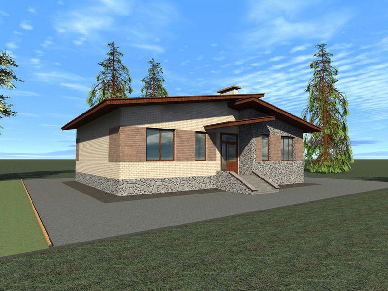 Бассет B-096. Проект мансардного коттеджа с тремя спальнями и террасой
