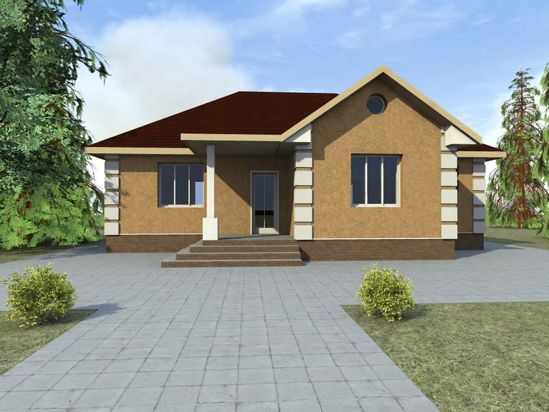 Бейсан A-040. Проект простого одноэтажного дома на 3 спальни