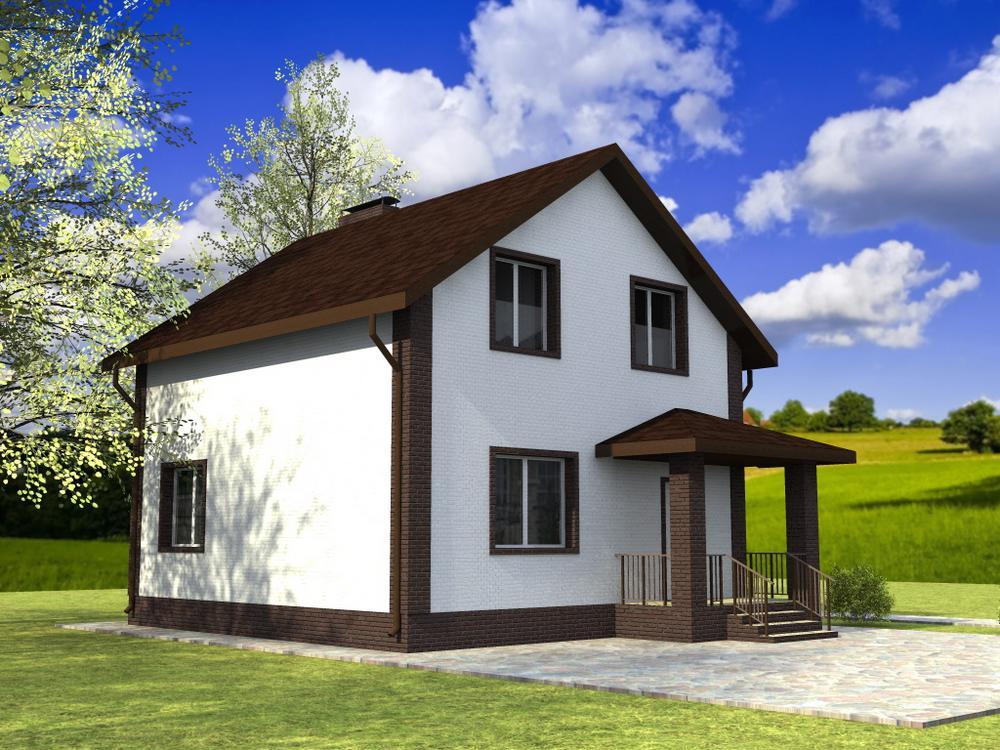 Белая королева B-230. Проект дома с мансардой, тремя спальнями и гостиной
