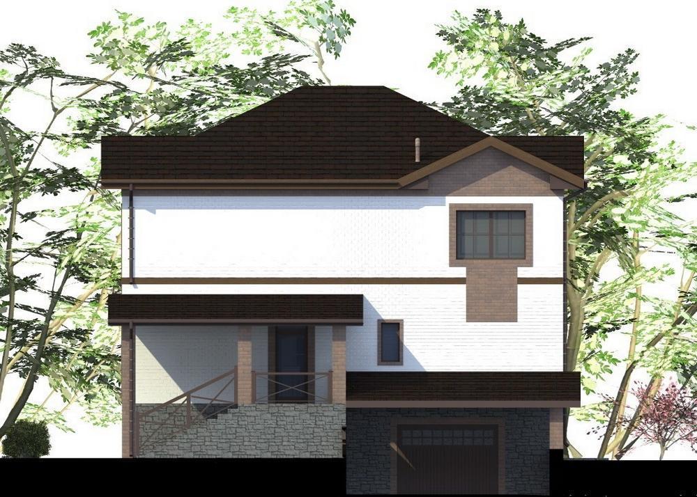 Белая мастерская F-073. Проект двухэтажного дома с цокольным этажом и подземным гаражом, на 4 спальни