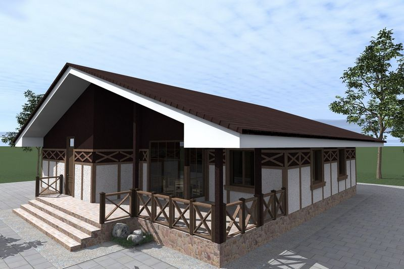 Белфаст C-179. Проект одноэтажного дома на 4 спальни, с угловой террасой