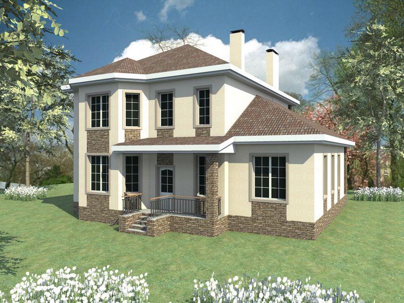 Белый налив D-050. Проект двухэтажного коттеджа с пятью спальнями