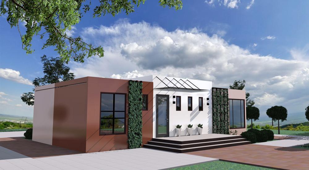 Белый Ворон B-227. Проект одноэтажного дома с тремя спальнями, гостиной и террасой