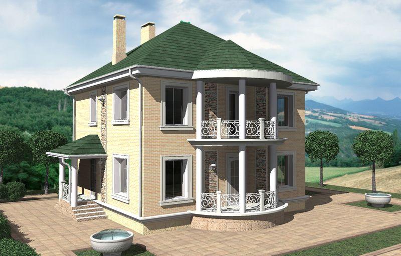 Бермуда C-204. Проект квадратного двухэтажного дома на 3 спальни, с кабинетом