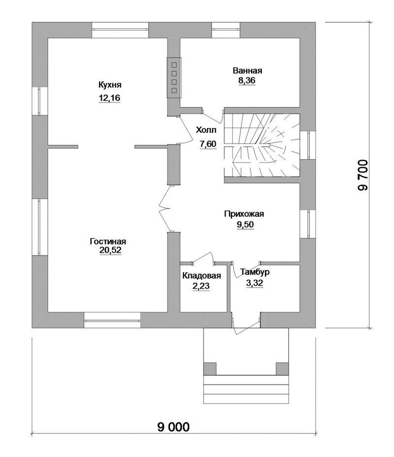 Бернат B-107. Проект мансардного коттеджа с простой планировкой, на 3 спальни