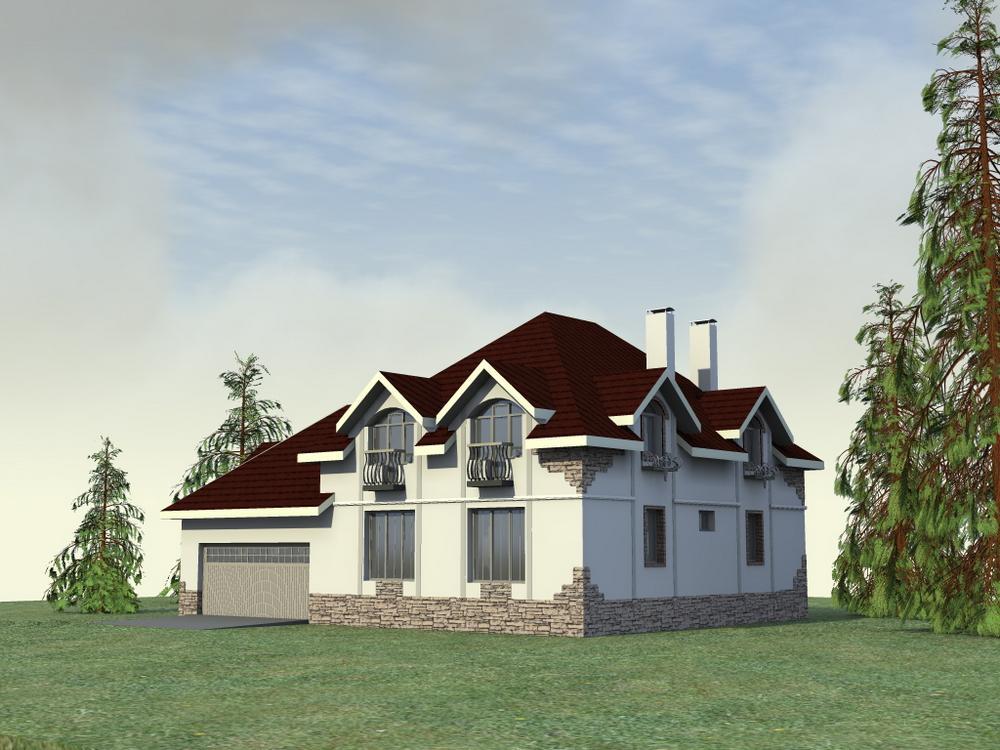Бинго F-044. Проект большого мансардного коттеджа с гаражом на 2 авто, террасой на 4 спальни