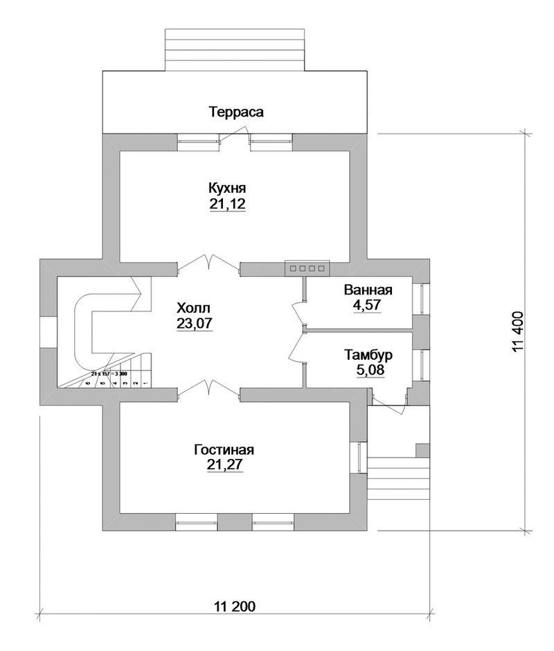 Блас B-111. Проект мансардного дома на 3 спальни, с террасой