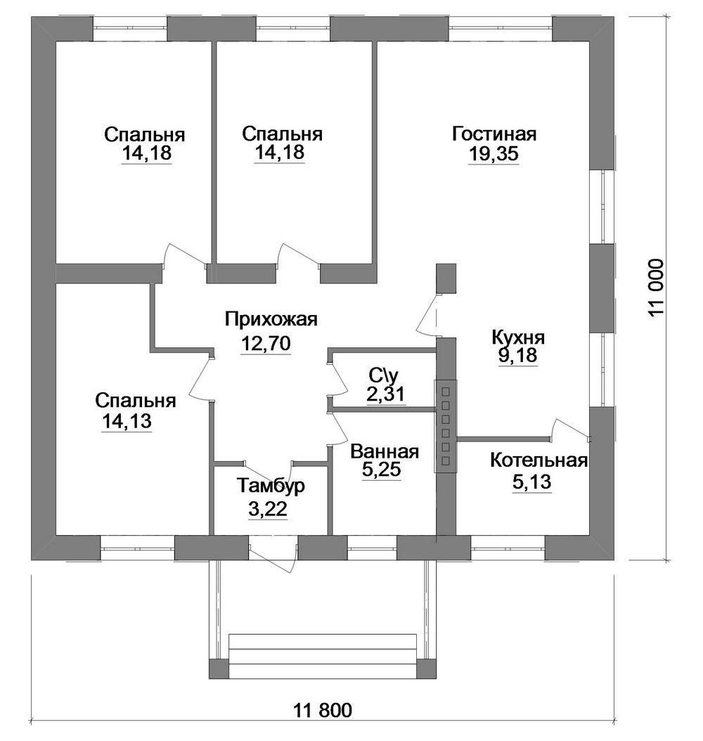 БЛЮМ A-067. Проект красивого одноэтажного дома на 3 спальни
