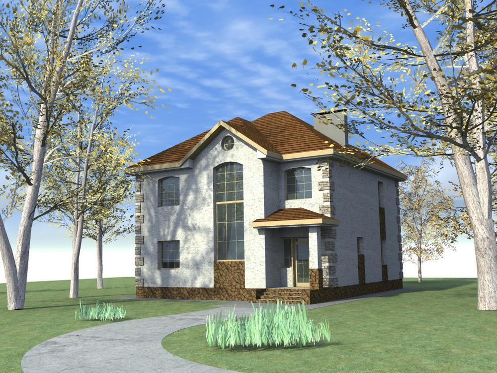 Блоссом C-131. Проект двухэтажного дома на 4 спальни, с террасой