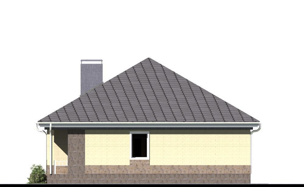Большевик B-184. Проект одноэтажного дома на 2 спальни, с террасойБольшевик B-184. Проект одноэтажного дома на 2 спальни, с террасой