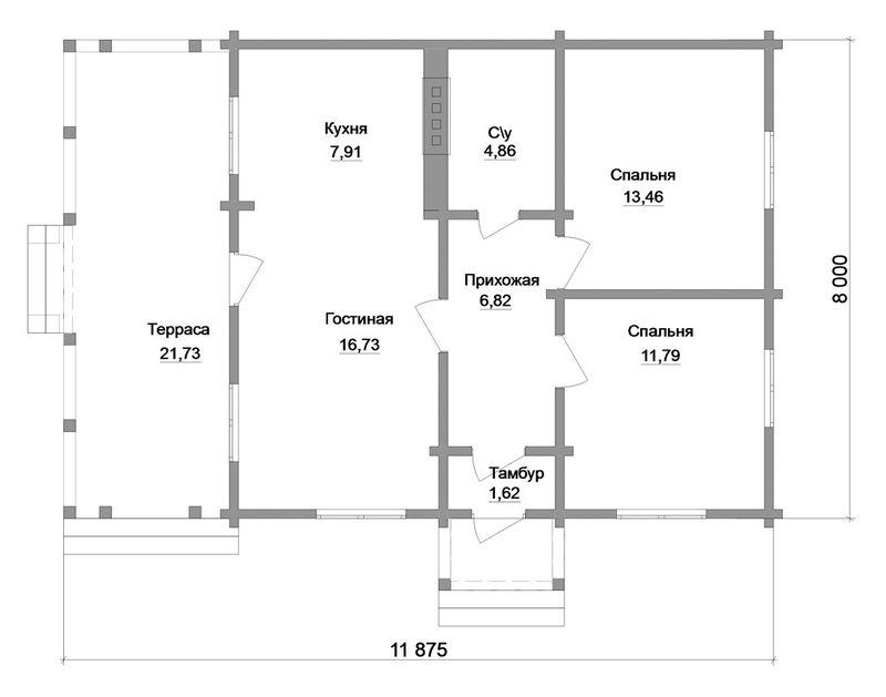Бор A-038. Проект одноэтажного дома из бруса на 2 спальни, с террасой
