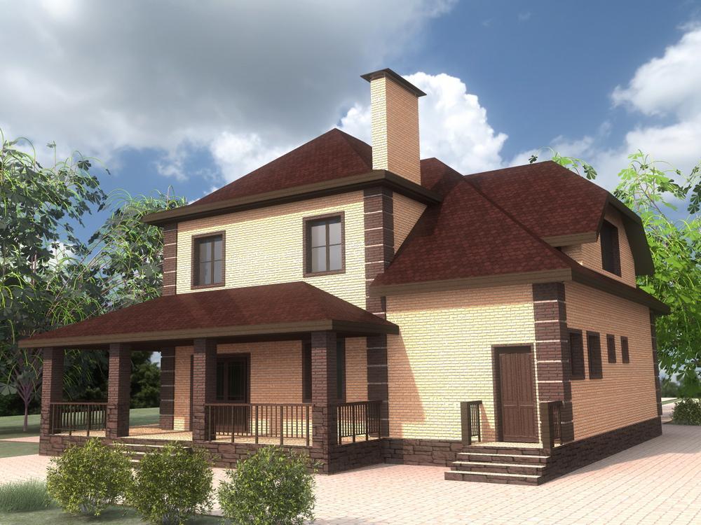 Борн C-232. Проект двухэтажного дома на 2 спальни, с террасой и пристроенным гаражом