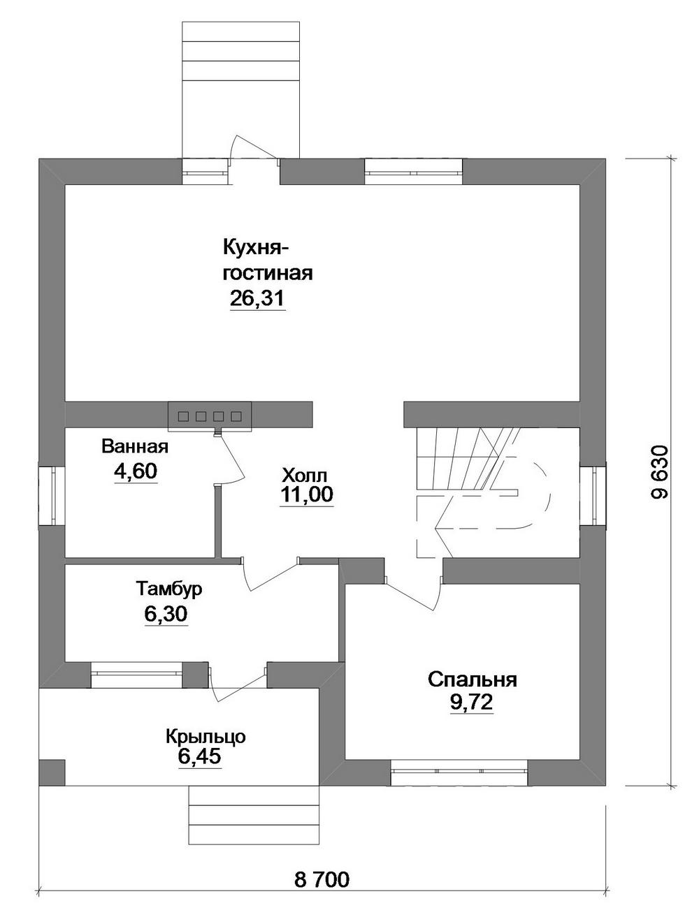 Бран B-242. Проект мансардного коттеджа, на 4 спальни, с балконом