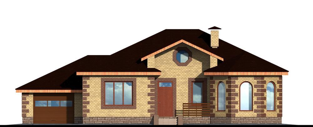 Бранимир C-123. Проект одноэтажного жилого дома с тремя спальнями и пристроенным гаражом