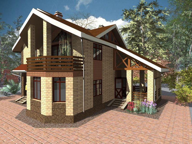 Брик C-154. Проект одноэтажного дома с мансардой на 4 спальни, с террасой и балконом