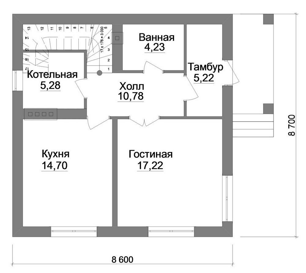 Бристоль B-225. Проект классического загородного коттеджа с мансардой на три спальни