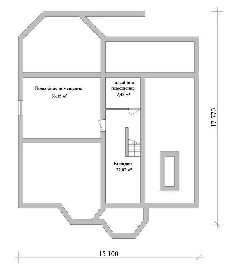 Брокер F-057. Проект одноэтажного дома с мансардой, гаражом, цокольным этажом и четырьмя спальнями