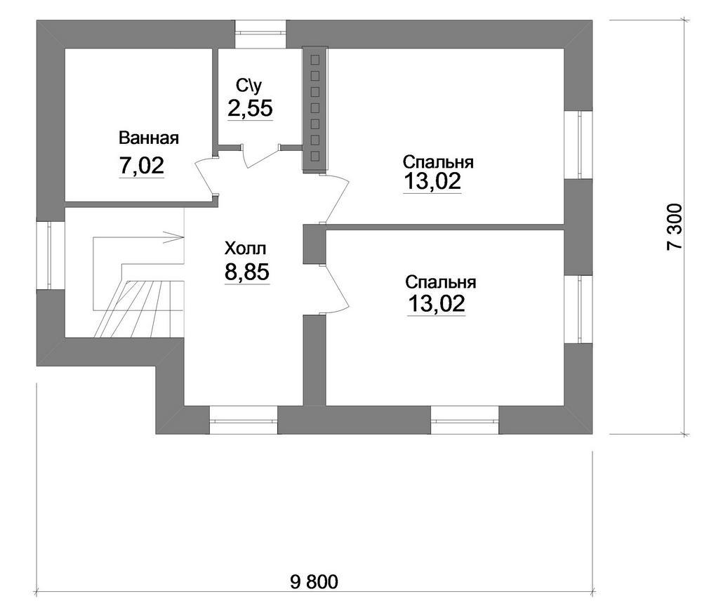 Брют A-075. Проект двухэтажного дома с 2 спальнями
