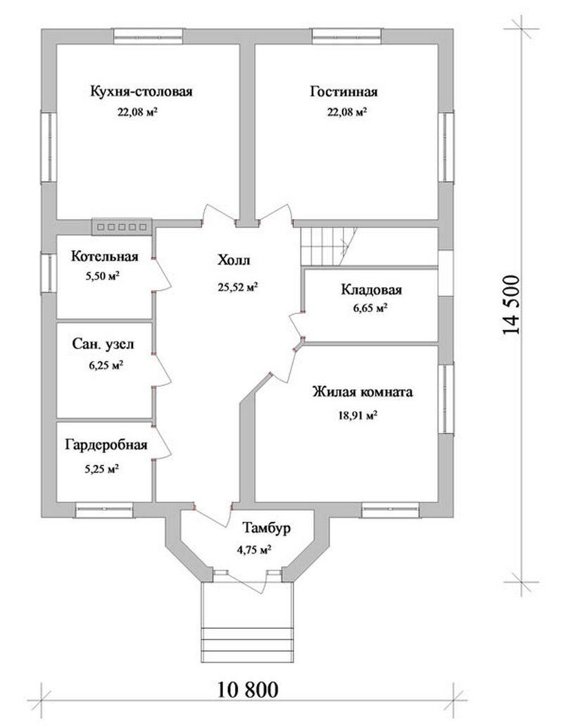 Буковель D-039. Проект мансардного коттеджа на 5 спален