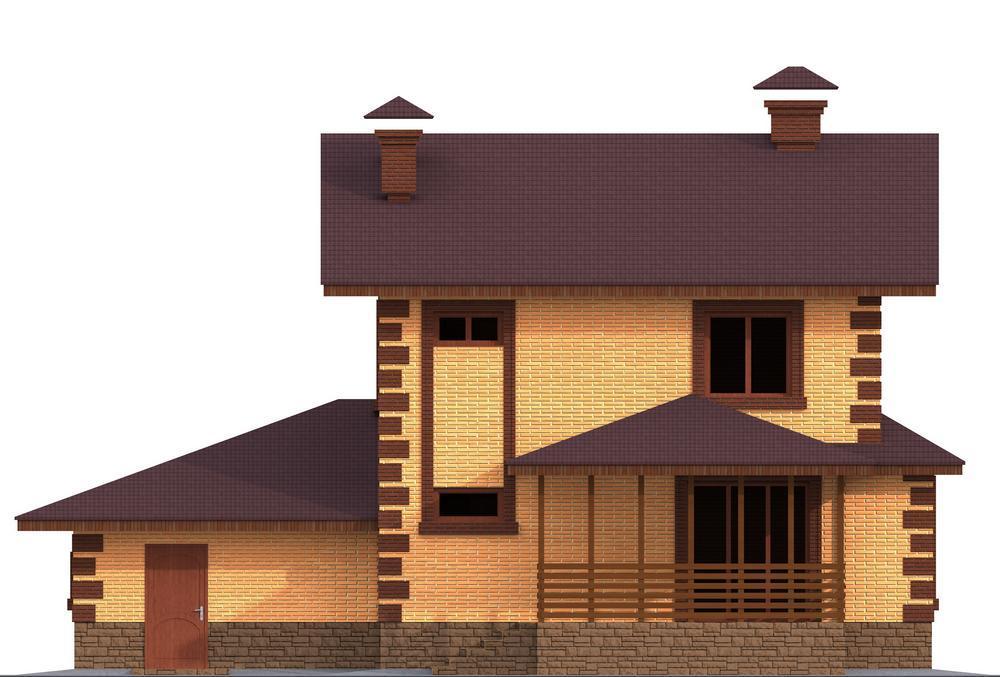Булат C-144. Проект двухэтажного дома на 2 спальни, с гаражом и террасой