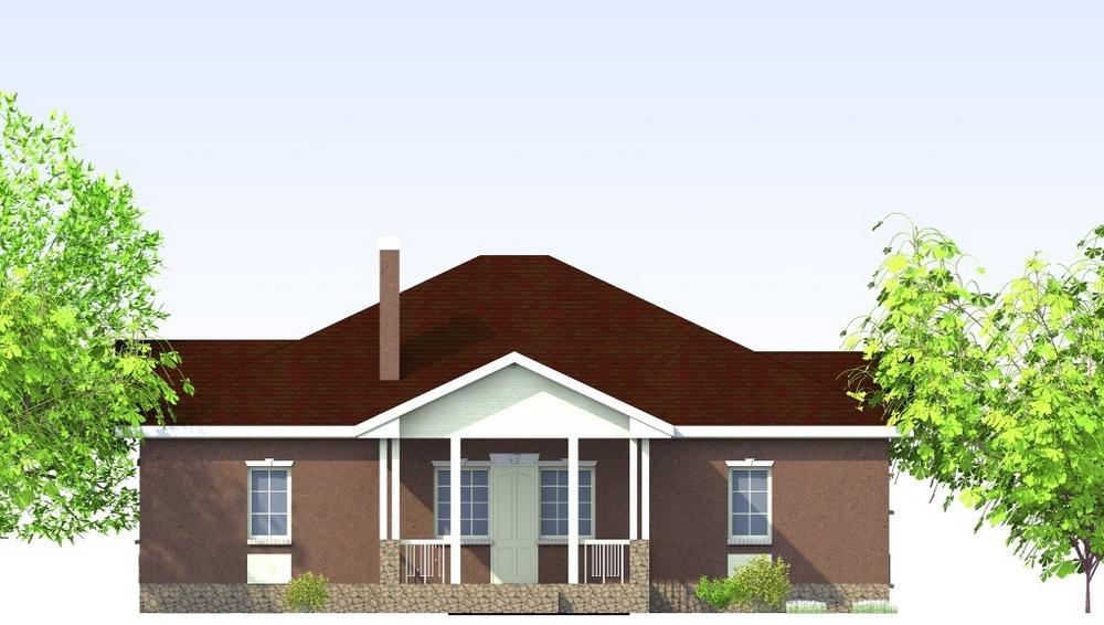 Булгаков C-201. Проект 1-этажного дома с 3 спальнями и пристроенным гаражом