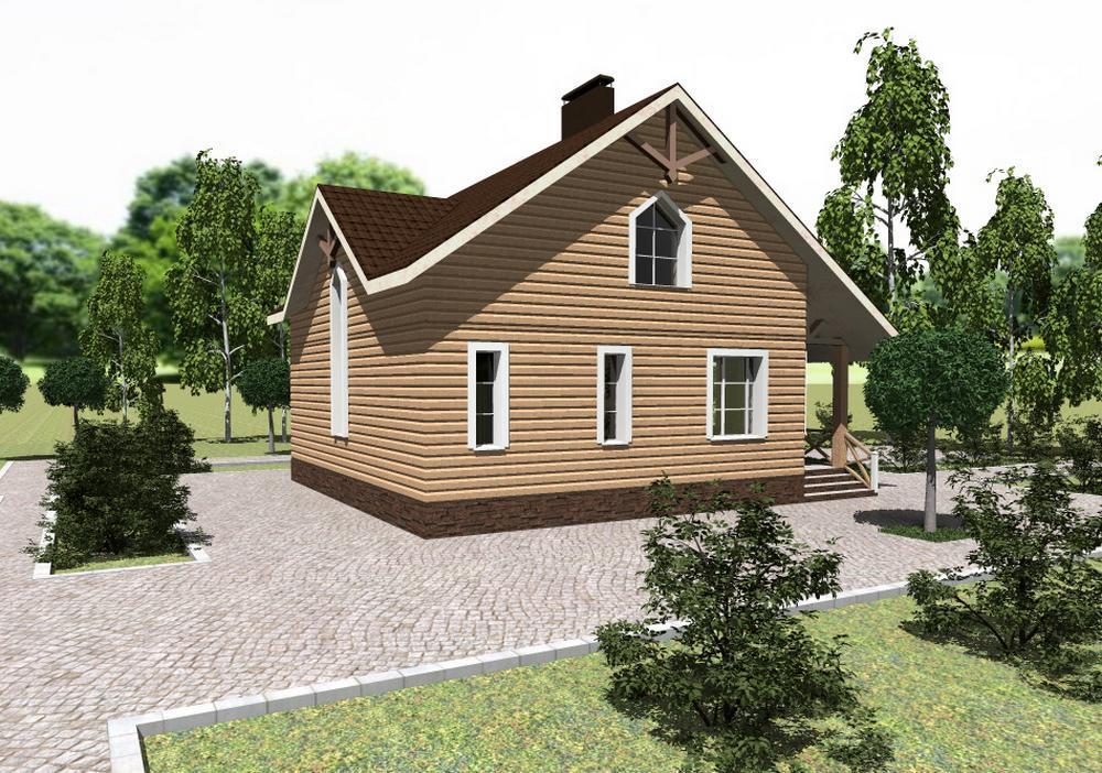 Булонский лес B-206. Проект мансардного дома с эркерами, на три спальни, с террасой