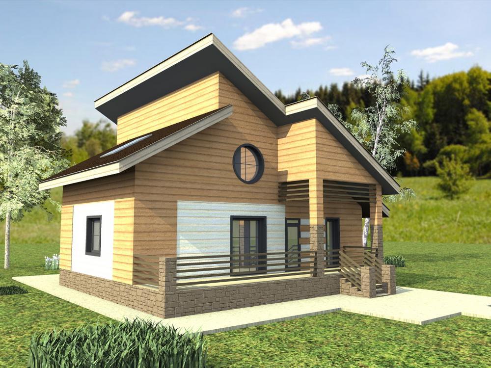 Бургус C-185. Проект большого дома на 4 спальни, с мансардой и террасой