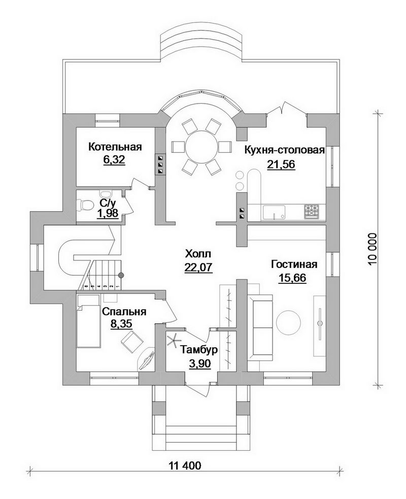 Бусина C-195. Проект мансардного коттеджа на 4 спальни, с террасой