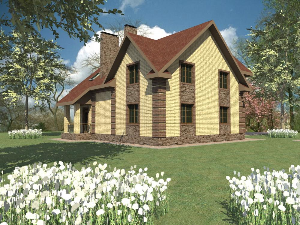 Чарли D-113. Проект дома с мансардой, четырьмя спальнями и кабинетом