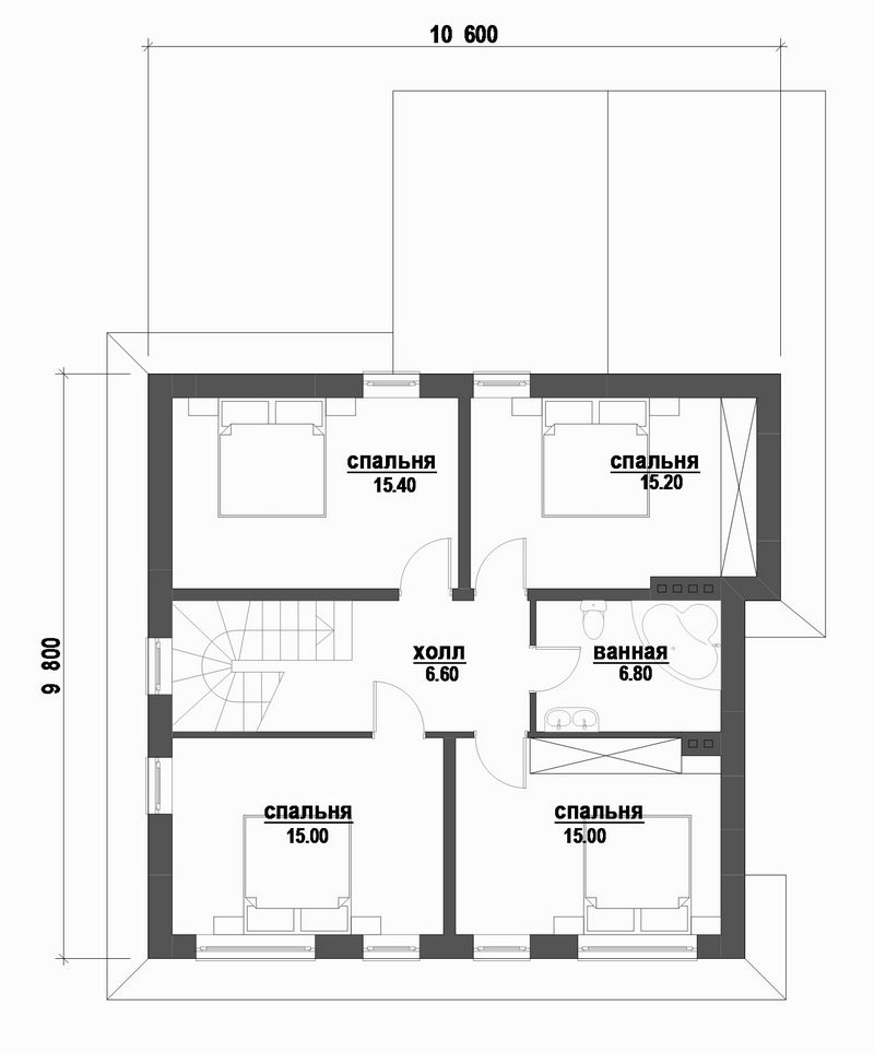 Черри-холл C-207 с видеообзором. Проект мансардного коттеджа на 4 спальни, с террасой