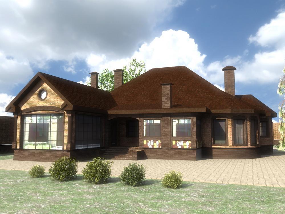 Дамьян D-100. Проект одноэтажного дома с тремя спальнями, бассейном и баней