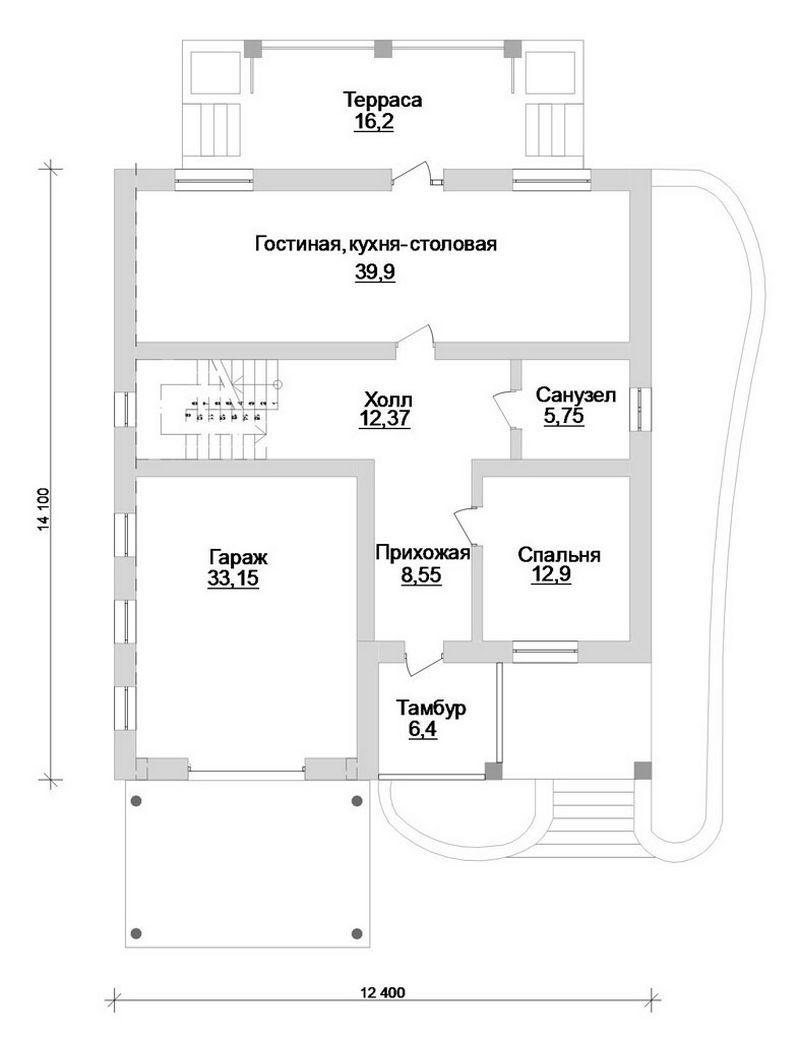 Де Голь D-068. Проект двухэтажного коттеджа на 5 спален, с гаражом и террасой