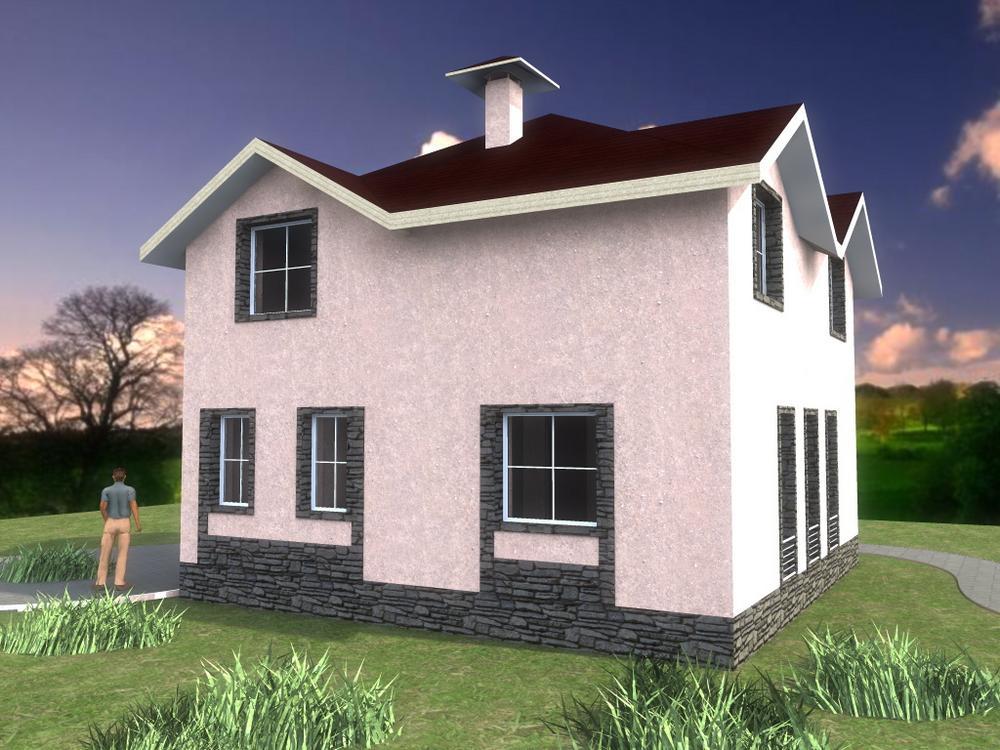 Дель Торо B-170. Проект красивого мансардного дома с тремя спальнями и большой кухней-гостиной
