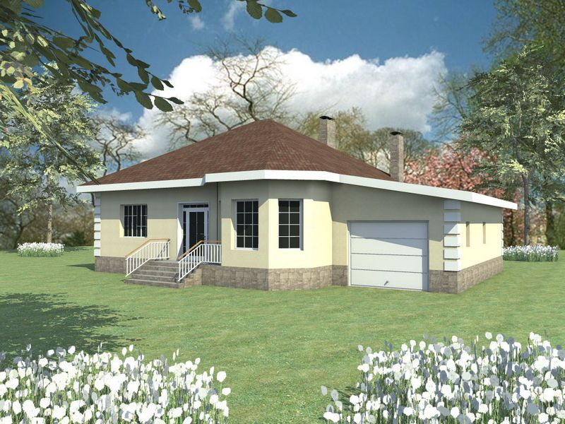 Дезислав B-102. Проект одноэтажного дома на 3 спальни, с гаражом