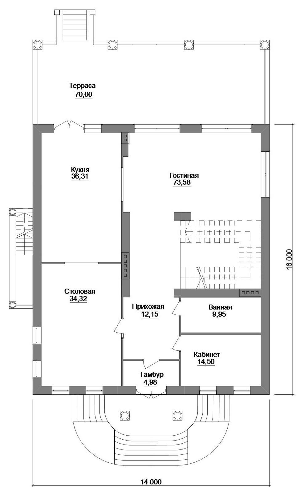 Дифирамб F-075. Проект двухэтажного особняка с мансардой, цокольным этажом, на 5 спален