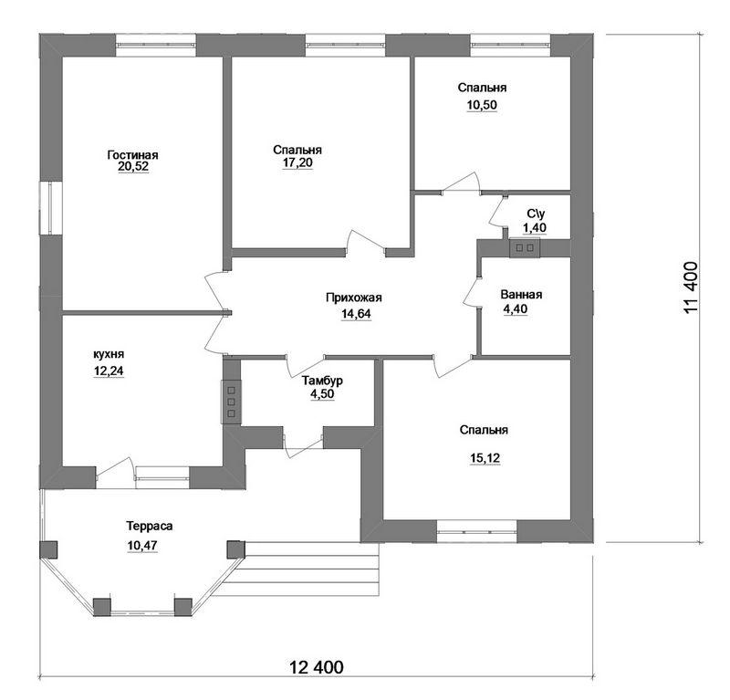 Димитар B-124. Проект одноэтажного дома на 3 спальни, с террасой