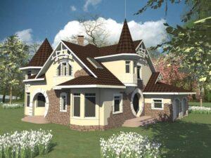 Дофин F-003. Проект мансардного коттеджа с пятью спальнями, баней и бассейном