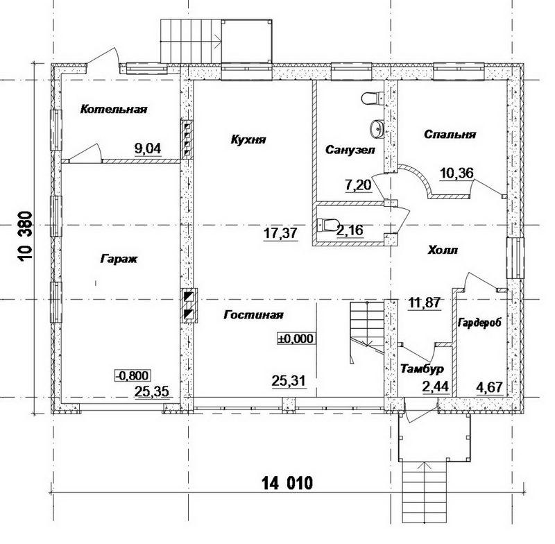 Домино C-146. Проект одноэтажного дома на 4 спальни с мансардой и гаражом