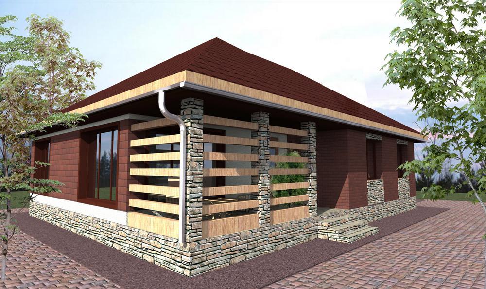 Дориус B-149. Проект одноэтажного дома на 2 спальни, с террасой