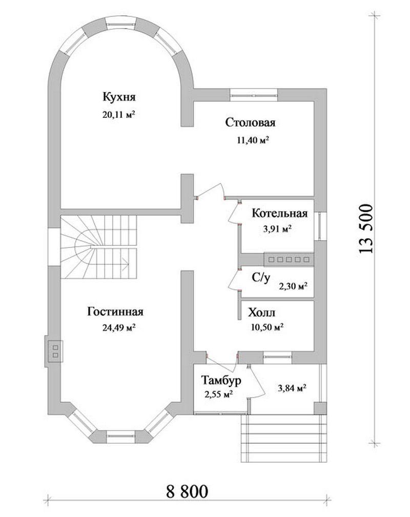Драм B-083. Проект мансардного коттеджа на 4 спальни с эркерами